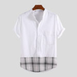 New Mens Plaid Hem Splicing Design Summer Casual Cotton Shirts