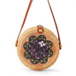 New Women Straw Bag Handwoven Round Rattan Beach Handbag Crossbody Bag Tote Outdoor Travel