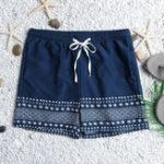 New Men Ethnic Print Drawstring Beach Hawaiian Board Shorts
