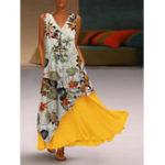 New Women Sleeveless Floral Irregular Hem Two-Piece Pocket Dress