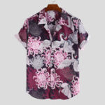 New Men Animal Floral Print Short Sleeve Relaxed Revere Shirts