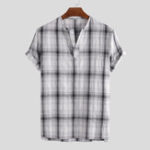 New Mens Vintage 100% Cotton Plaid Stand Collar Casual Shirts