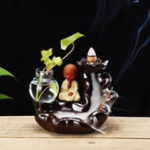 New Ceramic Backflow Cone Holder Incense Burner Monk Smoke Buddhist Scents + Glass Pot