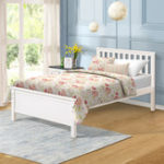 New Double Bed Wood Platform Bed with Headboard/Footboard/Wood Slat Support/No Box Spring Needed Twin