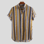 New Men Vertical Stripe Short Sleeve Stand Collar Shirts