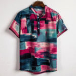 New Mens Color Blocks Painting Printing Summer Henley Shirts