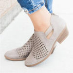 New Women Pattern Hollow out  Suede Pumps