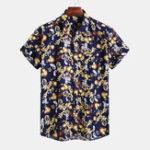 New Mens Summer Floral Printed Square Collar Casual Shirts