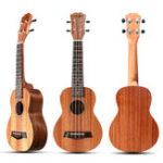 New 21 Inch 4 Strings 15 Frets Wood Color Mahogany Ukulele Musical Instrument With Guitar picks/Rope