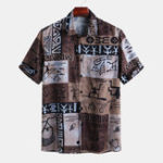 New Mens Summer Holiday Graffiti Plaid Pattern Printed Shirts