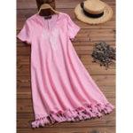 New Women Short Sleeve Tassel Patchwork Casual Dress