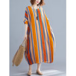 New Women Striped Loose Batwing Sleeve Side Pockets Dress