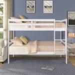 New Twin over Twin Solid Wood Bunk Bed Double Bed