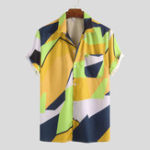New Mens Summer Colorblock Contrast Printed Casual Shirts