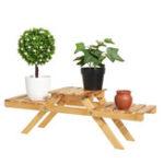 New Plant Stand Shelves Flower Pot Rack Bamboo Garden Indoor Outdoor Patio 2 Tier