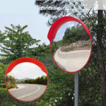New Safurance 60cm Wide Angle Security Road Convex Mirror Curved for Outdoor Roadway Blind Spot Safety Traffic Signal