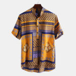 New Mens Ethnic Summer Pattern Printed Casual Shirts