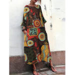 New Women Retro Crew Neck Loose Baggy Floral Maxi Dress