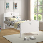 New Bed Frame Twin Platform Bed with Wood Slat Support and Headboard and Footboard