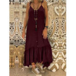 New Sleeveless Spaghetti Button Down Casual Solid Maxi Dress