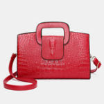 New Women Retro PU Leather Handbag Hand Crocodile Pattern Bag