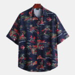 New Men Island Landscape Print Short Sleeve Hawaiian Shirts