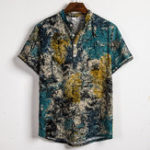 New Mens Summer Loose Comfy Casual Printing Henley Shirts