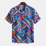 New Mens Colorful Geometric Printed Hawaiian Fashion Shirts