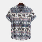 New Mens Ethnic Style Pattern Printing Summer Loose Henley Shirt