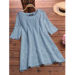 New Women Half Sleeve O-neck Lace Hollow Cotton Blouse