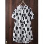 New Women Polka Dots Button Short Sleeve Blouse
