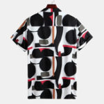 New Mens Fashion Geometric Printed Breathable Casual Shirts
