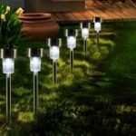 New 16pcs LED Solar Stainless Steel Lawn Lamps Garden Outdoor Landscape Path Light