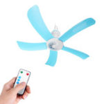New Portable 5 Blades Mini Ceiling Fan W/ Remote Control Hanging Summer Cooler Gift