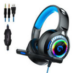 New A60 Gaming Headphone RGB LED Light Stereo Bass Earphone Wired Headset With Mic for PC Computer PS4