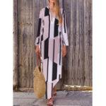 New Women Geometric Print V-Neck Long Sleeve Dress