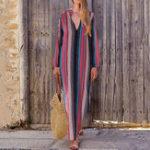 New Women Bohemia Striped V Neck Long Split Maxi Dress
