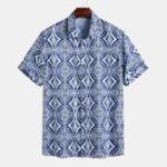 New Mens Vintage Ethnic Style Summer Loose Printing Shirts