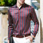 New Men Floral Printing Summer Fashion Long Sleeve Striped Shirt
