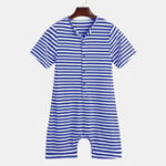 New Mens Cotton Striped Buttons Fly Pajamas Jumpsuit