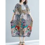 New Bohemian Loose Art Print Side Pockets Short Sleeve Dress