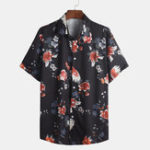 New Mens Chinese Fashion Floral Printed Square Collar Shirts