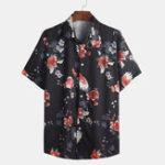 New Mens Chinese Fashion Floral Printed Square Collar Shirts