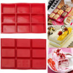 New 9 Cavity Rectangle Silicone Bread Cupcake Mould DIY Chocolate Soap Bakeware Tray