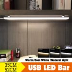 New 35cm / 52cm LED Strip Cabinet Light USB Rechargeable Under Wardrobe Cupboard Night Lamp DC5V