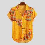 New Mens Folk Symbol Pattern Summer Casual Loose Printing Shirts