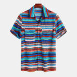 New Mens Summer Casual Colorful Stripes Printing Shirts