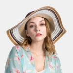 New Women Gradient Hollow Large Edge Cap Travel Shade Straw Hat