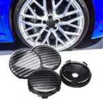New 4pcs Black ABS Carbon Fiber 60mm/58mm Universal Car Wheel Center Cap Cover