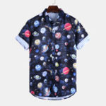 New Mens 100% Cotton Summer Floral Printed Loose Casual Shirts